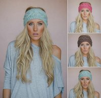 achat en gros de large élastique pas cher-2015 Femmes chaudes Crochet large bandeaux Knit hairband Fleur Hiver élastique oreille Warwire Headwrap cheveux accessoires pour dames 20 couleurs bon marché