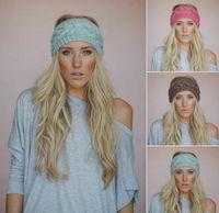 Headbands knit headband - 2015 Hot womens wide Crochet Headbands Knit hairband Flower Winter elastic Ear Warmer Headwrap hair accessories for ladies colors cheap