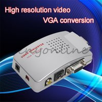Wholesale Signal USB VGA Input to TV AV Composite S video Output Adapter Converter Switch Box Support PAL NTSC For PC Laptop Desktop