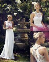 hand embroidery dresses - New Sexy Halter Embroidery Backless Wedding Gowns A Line Chiffon Floor Length Garden Bridal Wedding Dress Cheap wedding dressess