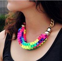 Cheap NEW 2014 fashion necklaces & pendants costume items neon chunky choker statement set necklace women jewelry!#2201