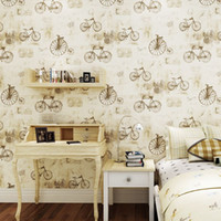 bicycle wallpaper - Vintage Bicycle D Contact Pure Paper Wallpaper Kids Bed Room Interior Wall Paper Backdrop Roll Anti Static Wall Covering Decor