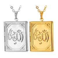 wholesale vintage jewelry - Vintage Muslim Allah Photo Locket Pendants Floating Charms K Gold Plated Choker Necklace Bible Jewelry Gift MGC P195
