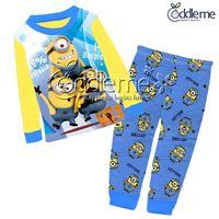 Cheap Baby boys Pajamas 2015 new children Autumn winter cartoon Despicable Me Minions Cotton Pyjamas long Sleeve + Pants 2 Piece Suits C001