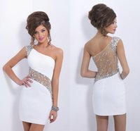 Wholesale 2016 Sexy White Short Prom Dresses One Shoulder Cap Sleeves Crystal Beaded Tulle Chiffon Sheath Backless Mini Party Dresses Cocktail Dresses