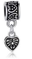 Wholesale Love heart lock pendant diy accessories alloy big hole beads beaded bracelet jewelry accessories boutique