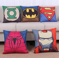 Wholesale Superhero Avengers cushion case Cartoon pillow case superman batman Printed Cushion Cover linen Pillow Cover Home Textiles Xmas gift D71