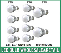 LED gu10 led bulb - Retail Dimmable led Bubble Ball Bulb AC85 V W W W E14 E27 B22 GU10 High power Globe light LED Light