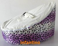 Wholesale purple leopards with white seat baby bean bag chair