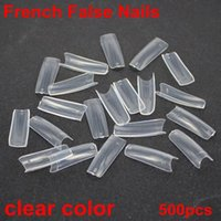 Wholesale 500pcs sizes french false nails clear colors acrylic nails Nail Art Design wrap Tips Free Shippng