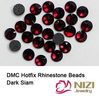 Wholesale Dark Siam Hotfix DMC Rhinestones For Garment Accessories Iron On Strass For Wedding Designs DIY Round Glass Flatback DMC Rhinestones