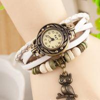 Wholesale New Hot Sale Original High Quality Women Genuine Leather Vine Watches Bracelet Wristwatches The Owl Pendant