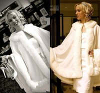 Faux fur jackets Цены-2016 Потрясающие Люкс Мысы Кот Свадебное куртка +2015 искусственного меха идеально подходит для осень-зима свадебное платье Свинг пальто