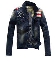 american flag denim shorts - New American flag jeans jacket for men Fashion motorcycle jeans short jacket do old jeans denim coat