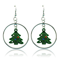 Wholesale Fashion Charms Earrings Silver Plated Dangle Rhinestone Christams Tree Match Circle Earrings For Women Christmas Gifts Jewelry