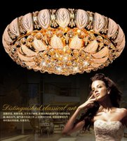 Modern cornucopia - Cornucopia of Golden Crystal lamp living room light LED Chandelier modern stylish bedrooms are colorful Crystal light off