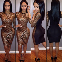 Wholesale 2016 Hot Sale Sexy Black Club Bodycon Dress Europe and the United States See Through Sequins Crew Neck Night Out and Club Short Dresses