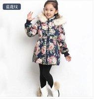 cotton velvet - Children s winter clothing female child Outerwear Coats winter Girls cotton padded jacket Kids wadded Coat plus velvet