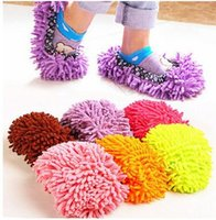 Wholesale Easy Lazy Perfect Cleaning Wipers Chenille Floor Wipes Plush Mop Shoe Cover Non Slip Water Absorb Colorful