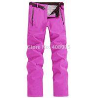 Wholesale Softshell fleeces Pants outdoor sports ski pants women winter waterproof Snowboard skiing pants Woman Hiking Camping Trousers