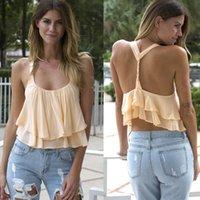 Cheap 2015 New Fashion Women Backless Sling Sleeveless Chiffon Casual Vest Crop Tops Cropped Halter top Blusa de renda Feida