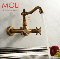 Wholesale Antique kitchen faucet wall cold and hot double handle kitchen water mixer tap