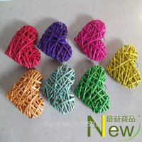 ball cane - 10cm Dried flower branch wicker color heart shaped cane kindergarten bazaar adornment ball pendant corridor home decoration