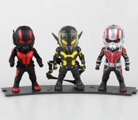 Wholesale 3pcs cm Ant Man superhero Q version car ornaments exquisite hand done box select figure doll will give out light