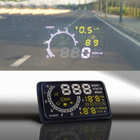 Wholesale W02 quot HUD Head up Display Security System Projector Car PC Driving Data Speedometer Speeding Warning System with OBDII OBD Cable