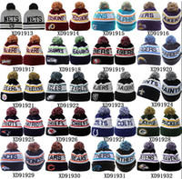 Wholesale All Teams Beanies Football Beanie Caps Football Teams Pom Pom Beanies Cheap Basketball Knitted Beanie Hats Heat Bulls Sports Cap Mix Order
