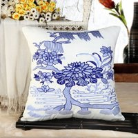 Wholesale blue and white china lotus flower embroidery Pillow cushion cover sofa cushion cover car seat chair pillow cover home decorative