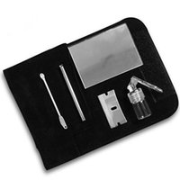 Wholesale Leather Snuff Kit and Snorting Set in a leather wallet Sniff Bottle Spoon Mirror snorter DHL