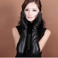 fashion gloves leather - 50CM over the elbow long leather gloves high fashion women winter warm gloves fingers black red