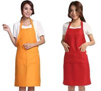 adult size bibs - 50PCS HHA217 Hot Plain Apron with Front Pocket Bib Kitchen Cooking Craft Baking Art Adult Size