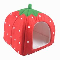 Wholesale Pet Strawberry House Bed Winter Warm Cat Dog Nest Basket Kennel ZZD1