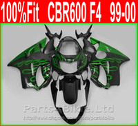 aftermarket body parts - Green flame Body parts for Honda fairing CBR F4 Injection Mold fairings kit CBR600 F4 aftermarket VUXD