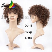 Wholesale 100 Human Kinky Curly Hair Wig Short inch g None Lace wig Brown Mix color For black women Hair Ombre Wig
