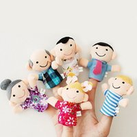 Wholesale Family Finger Puppets Toys Puppets Babys Hand Puppet Finger Plush Fabric Toys Dolls A Family Set Styles Kids Christmas Gifts