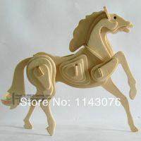 Wholesale Wool d puzzle animal model wooden puzzle zodiac horse