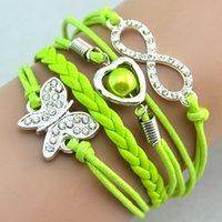 Wholesale Infinity Bracelets Diamonds Charm Butterfly Infinity Colors Weave Leather Bracelets Fashion Wrist Bracelets Jewellery