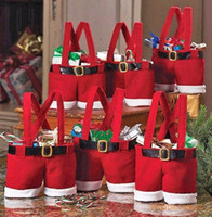Wholesale 2014 Newest Red Cute Santa Pants Treat Candy Bags for Christmas Gift Party Decorations