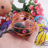Chirstmas rat - 2014 New Fun Gift Play Toys False Mouse in Rat Cage Ball For Pet Cat Kitten Promotion