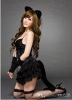 girls wear underwear - Cute cat girls black Lingerie Sets Women Underwear Low Bosom Lace Ball Gown Exotic Lingerie sexy night Party Wear