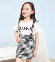 korea fashion - Girls Fashion Korea Style Dresses Sets Summer Butterfly Sleeve Letter Top Plaid Suspend Dress sets