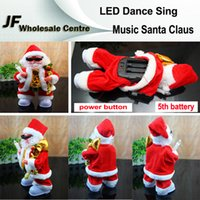 Wholesale Merry Christmas Electric Music Christmas Elderly Santa Claus Toy Dolls Glisten LED Dance Sing Action Figures CM Decorations Christmas Gift