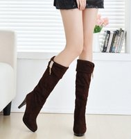 Cheap Hot Sale Women's Shoes Over the Knee Thigh Stretchy High Heels Boot Size 35-39 Black Brown Sexy