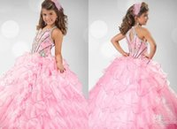Cheap 2015 Little Girls' Pageant Dresses Pink Lovely Ball Gowns Spaghetti Beaded Appliques Bodice Organza Formal Pageant Gowns For Girls Cheap WZ