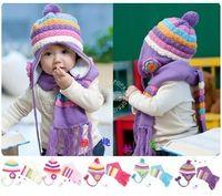 Wholesale 2013 New arrival Pineapple Stripe Flower child Cap Scarf hat set Multicolour Candy cap Ear Protect Winter Beanies Hats colors