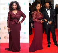 Wholesale 2015 Burgundy Oprah Winfrey Red Carpet Dresses Long Sleeve Plus Size Lace and Chiffon High End Evening Party Gowns DH11 Mother Dress BO6383