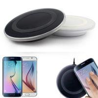 al por mayor almohadilla de carga inalámbrica qi negro-Negro Cargador inalámbrico Qi carga Pad para Samsung Galaxy S6 / S6 Edge teléfono celular